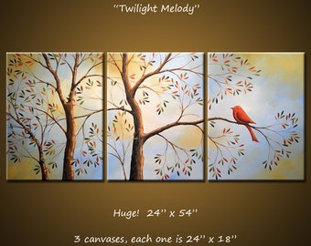 "Art Painting 54"" Triptych Original Large Wall Modern Birds Trees Landscape ...3 acrylic canvases... ""Twilight Melody"""