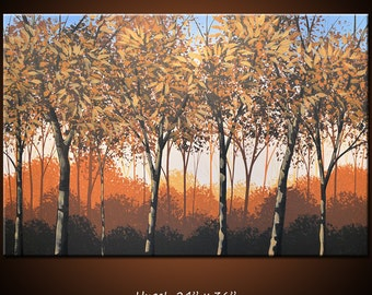 "Art Painting 36"" Original Large Abstract Modern Contemporary Trees ... 24 x 36 ... Enraptured, by Amy Giacomelli"
