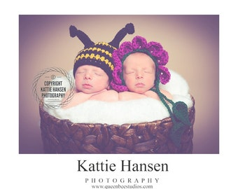 newborn baby twin hats bee and flower photography prop