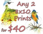 Any 2 Fine Art Watercolor Giclee Prints by Oladesign - Save 20% Off - choose any 2 designs for one low price