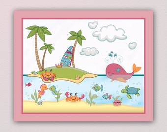Adorable Under The Sea Nursery Art Print - made to match a beddding set. Cute Girl Colors. Octopus,Whale,Crab,Dolphin,Sea Turtle, Seahorse