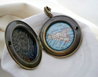 Sicilia Map Large Locket Necklace