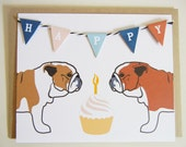 Happy Birthday Evie and Winston the English Bulldogs Dogs Flag Garland Cupcake Blank Note Card with Envelope