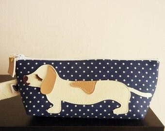 Yang the Cream Dachshund Dog Navy Blue Polka Dot Cotton Canvas Carry All Case Vinyl Applique