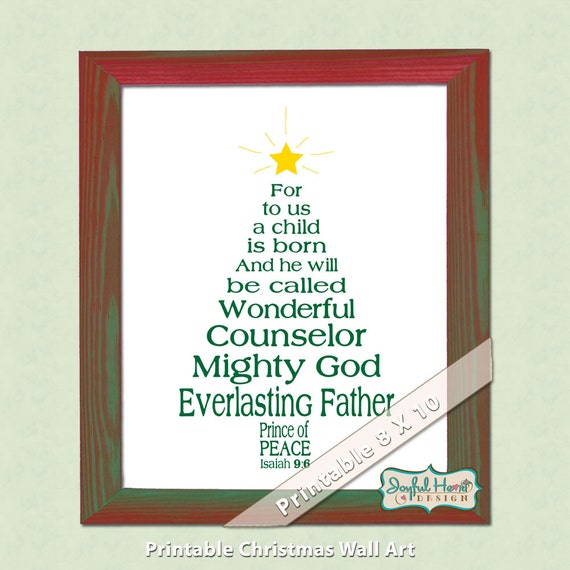 Christmas Tree In The Bible Scripture: Christian Christmas Bible Verse Art Isaiah Scripture Christmas