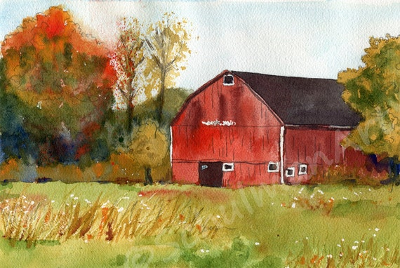 Original watercolor landscape painting of a red barn country for Watercolor barn paintings