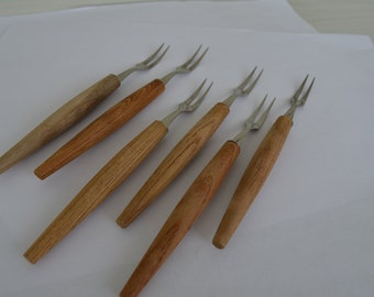 Vintage Mid Century Serving Forks Wood Handles Made in Japan set of 6