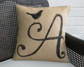 Bird Letter Custom Monogram Pillow  - Burlap Pillow - Letter Pillow
