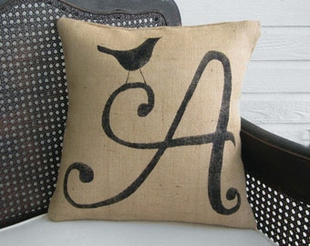 Bird Letter Custom Monogram Pillow  - Burlap Pillow - Letter Pillow