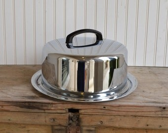 Vintage Cake Carrier in Stainless Steel 40 yrs old, Everedy,