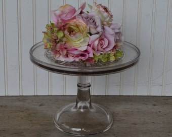 Vintage Clear Cake Stand, Antique, Diamond,