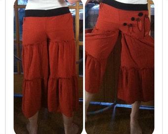 Up-Cycled Flow Pants,Skirted Pants,Pixie Clothing,Festival Clothing,Gypsy Clothing,Flared Pants, Hoop pants,Dance Pants, Hippie Pants