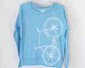 FIXIE SHIRT SMALL Women's Bike Pullover tee, Turquoise Long Sleeve S