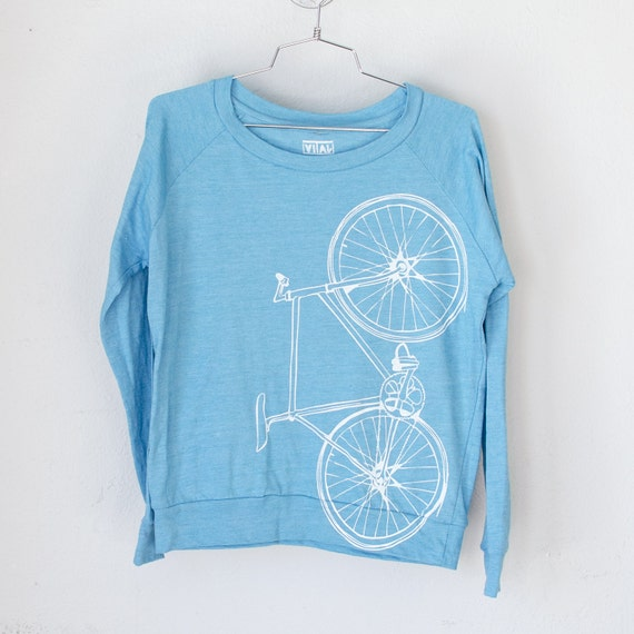 Fixie shirt small women 39 s bike pullover tee turquoise for Women s turquoise long sleeve shirt