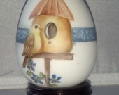 Kiln Fired Porcelain  Bird House Egg
