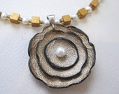 Flowering I, Sterling Silver, Pearls, Leather, Wood, Brass Necklace