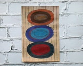 Affordable Art, Gouache Painting, Original Abstract Painting, Antique Book Paper Art - Circle Grid