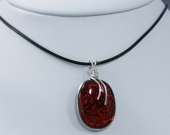 Red Dichroic Glass Pendant Necklace