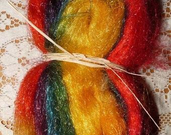 Hand Dyed Sparkle, Shiney Nylon Roving for spinning / 0.8 oz. / Peak