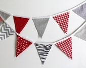 Red and Gray Bunting party decoration. Fabric sewn Grey flag Banner. Photo prop. 12 Pennant flags