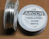 4 oz roll of 18 gauge tinned copper Wire. a 50 Foot roll (15 meters) to make Jump Rings, Solder Accents etc.  Silver color.