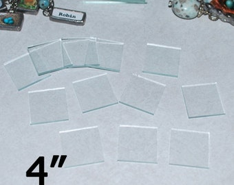 "4 Pack ))(( Giant 4 inch Squares . . . 4 x 4"" Square - Solder Art Pendant Clear Glass  ((( Coaster size)))"