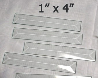 10 Pack of 1 x 4 inch Clear Glass Bevels - Flat On Back for Jewelry, Solder Art, Stained Glass