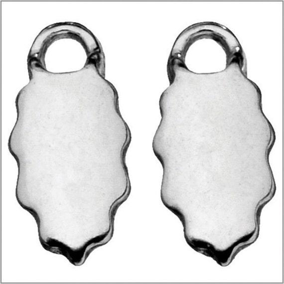 6 pack - Sterling SILVER plated – Leaf EARRING Bails - 6 x 15mm - Aanraku (3 pairs)