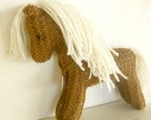 Organic Stuffed Animal Horse Toy, hand knit plush wild pony friend