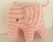 Elephant - Natural Toy -  Stuffed Animal - Eco Kids Toy - HandKnit - Childrens Toy