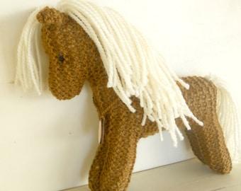 Organic Stuffed Animal Horse Toy, hand knit plush wild pony friend