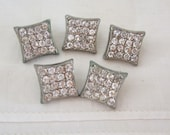 Five Vintage Square Rhinestone Buttons