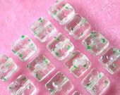 Clear Glass Lampwork Square Flower Beads 12mm  (30)