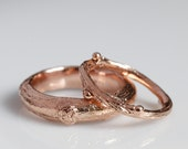 Willow twig ring set, 14k rose gold, wedding set, made to order, your size