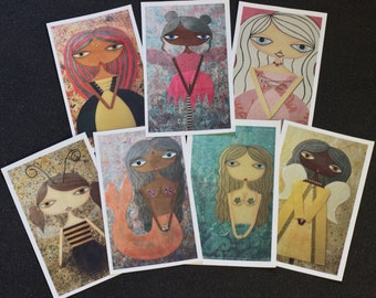 Set of 7 'Glitter Girls' Rectangular Stickers by Sunny Crittenden: Mermaids, Princesses, a Fairy, Angel and Bee Girl