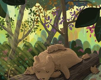 Sleepy Forest Bears Greeting Card