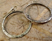 Oasis Hoop Earrings, Sterling Silver Hammered Earrings For Her (ID-121215f)