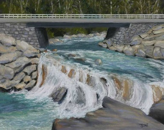 "The Sinks Waterfall Original Pastel 9"" x 12"" Great Smoky Mountains National Park FREE SHIPPING"