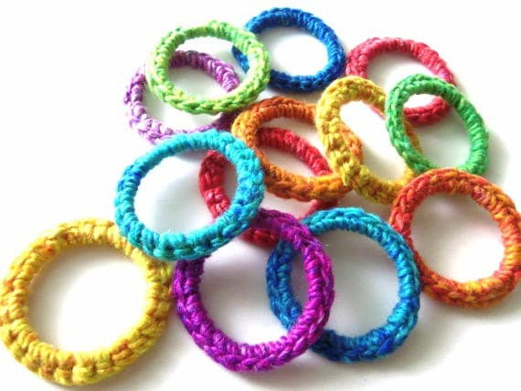 Cat Ferret Toys Toy Recycled Rings Handmade Michigan Rainbow Colors