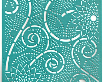 Stencil Stencils Pattern Template, Reusable, Adhesive, Flexible, for polymer clay, fabric, wood, glass, cards | SWIRL 6 inch/15 cm