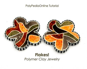 Polymer clay tutorial, Liquid polymer clay tutorial | FLAKES | Necklace tutorial, Earrings, Brooch tutorials Projects | PDF, Video | Vol 39