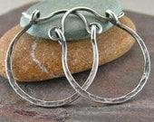 Sterling Silver Hoop Earrings Rustic Jewelry Hammered Silver Oxidized Silver Hinged Hoop Earrings 3/4 Inch Small Hoops Minimalist Jewelry