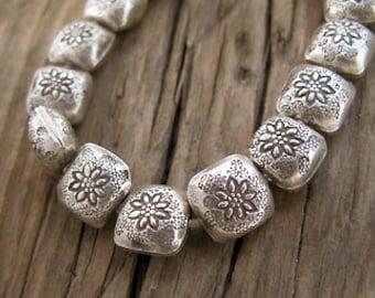 2 Thai Hilltribe Silver Flower Pillow Beads, 11mm -Set of 2