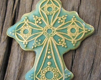 Gold Vermeil Ornate Cross Pendant with Green Enamel -35x49mm