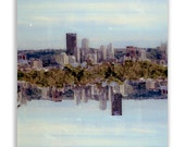 symmetry skyline: canvas wrap. ready to hang photo. large wall art. surreal skyline pittsburgh art. urban decor sky blue trippy art fine art