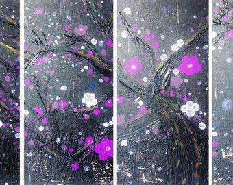 Original Canvas Painting Cherry Blossom Plum Tree Purple Iridescent Flowers Nature Landscape multi panel Textured by Heather R Lange