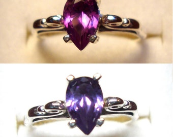 Alexandrite Ring Pear color change blue-violet to bright pink, eco-friendly recycled sterling silver 1 ct VVS  Custom Made in your Size