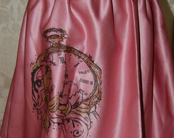 Pink Screen printed Clock skirt