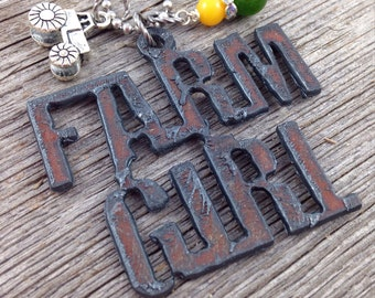 FARM GIRL Rustic Recycled Metal Necklace | Tractor Charm and Green Yellow Beads or Rhinestones