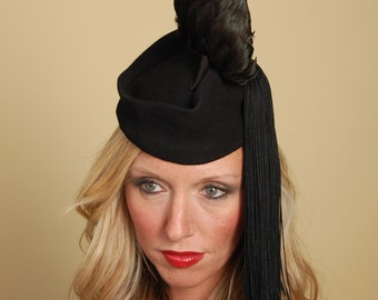 Night on The Concorde: Taxidermy Rooster Wing on Felt Cap with Silk Tassel